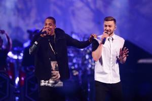 """Justin Timberlake and Jay-Z performing """"Holy Grail"""" at The 20/20 Experience Tour in Barclays Center, New York"""