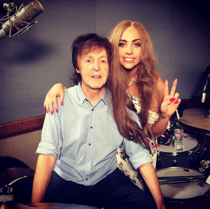 Lady Gaga and Paul McCartney in studio