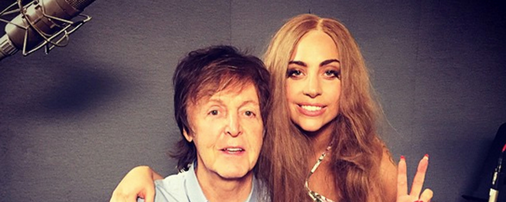 Lady Gaga and Paul McCartney recording music